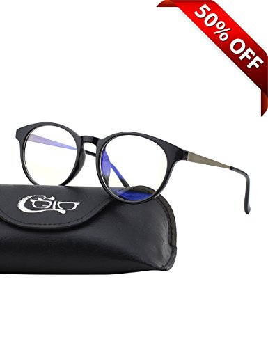 CGID CT28 Premium TR90 Frame Blue Light Blocking Glasses,Anti Glare Fatigue Blocking Headaches Eye Strain,Safety Glasses for Computer/Phone/Tablets,Round Flexible Unbreakable Frame,Transparent - Frames Polishing Glasses Plastic