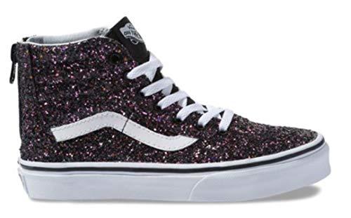 Vans Kids Girl's Sk8-Hi Zip (Little Kid/Big Kid) (Glitter Stars) Black/True White 4.5 M US Big -