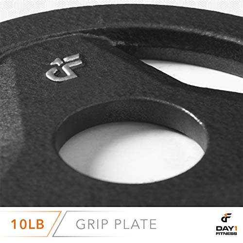 "Day 1 Fitness Cast Iron Olympic 2-Inch Grip Plate for Barbell, 10 Pound Single Plate Iron Grip Plates for Weightlifting, Crossfit - 2"" Weight Plate for Bodybuilding by Day 1 Fitness (Image #5)"