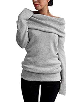 StyleDome Women's Sweater Sexy Pullover Off Shoulder Cowl Neck ...