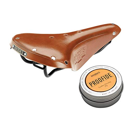 Brooks England B17 Standard S Women039;s Bike Saddle (Honey/Black Steel Rail) and Proofide Leather Dressing Bundle. Recommended for Mountain Biking and Road Touring (2 Items)