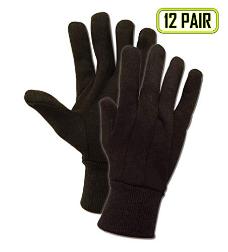 Magid Glove & Safety T91 JerseyMaster T91 7 oz. Jersey Gloves with Knit Wrist Cuff, Ramie Blend, Men's (Fits Large), Brown (12 Pairs)