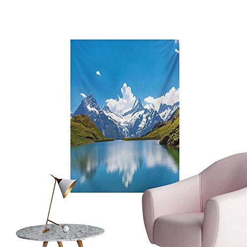- Anzhutwelve Landscape Wallpaper Dreamy View of Alpine Lake with Snow Frozen Peaks Swiss Northern ExploreBlue Green White W24 xL36 Art Poster