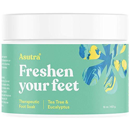 - Asutra Premium Therapeutic Foot Soak, Tea Tree and Eucalyptus Scent, 100% Pure Dead Sea Salt, Skin-Healing Nutrients, Organic Essential Oils, Combats Feet Conditions, Free Pedicure Pumice Stone, 16 Oz