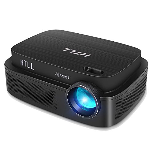 HD Video Projector, HTLL Home Theater Projector With 1280x800 Native Resolution, Upgraded LED Projector with 40%+ Lumens, Support HDMI, VGA, AV, USB Input from Smartphone, Laptop, PC, DVD Player etc