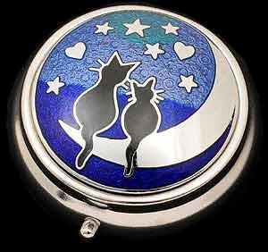Pill Box in a Cats on Moon Design. (Charming Wholesale Jewelry)