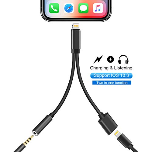 KPAO 2- in- 1 Phone Adapter Charger Compatible with 10.3 or Later Headphone Jack Adapter Charger for Phone 8/8 Plus 7/7 Plus/X (Black)