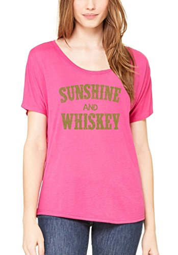 (Shop4Ever Sunshine and Whiskey Gold Slouchy T-Shirt Drinking Shirts Small Berry)