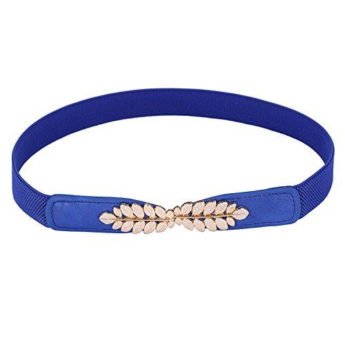 Women Leaf Shaped Interlocking Buckle Wide Stretch Cinch Belts Blue Small - Interlocking Buckle