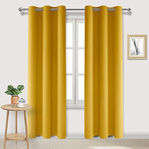 DWCN Yellow Blackout Curtains Room Darkening Grommet Thermal Insulated Light Blocking W 42 x L 84 Inches Long Curtain Panels for Bedroom Living Room, Set of 2 Thick Panels (Yellow Curtains Long)