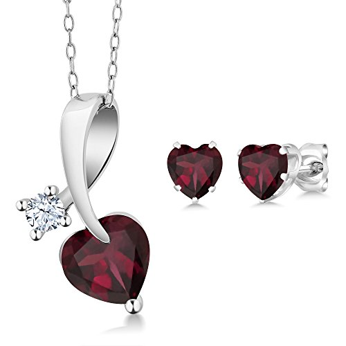 2.71 Ct Heart Shape Red Rhodolite Garnet 925 Sterling Silver Pendant Earrings - Pendant Earrings Shape Garnet