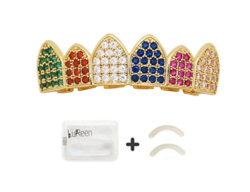 LuReen 14k Gold Plated Rainbow Color Iced Out CZ Vampire Fangs Grillz Set + 2 Extra Molding Bars (Top Grillz) -