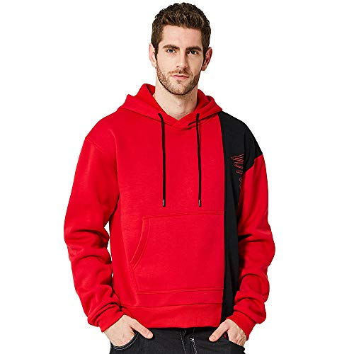 Beautyfine Men Warm Hoodie Sweatshirt Autumn Winter Splicing Casual Long Sleeve Leisure Outwear Blouse by Beautyfine