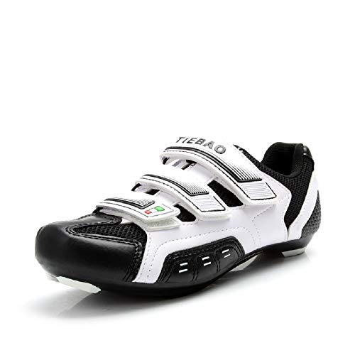 Tiebao Men Women Road Cycling Shoes Indoor and Outdoor Riding Bike Shoes Bicycle Shoes (8.5, White)