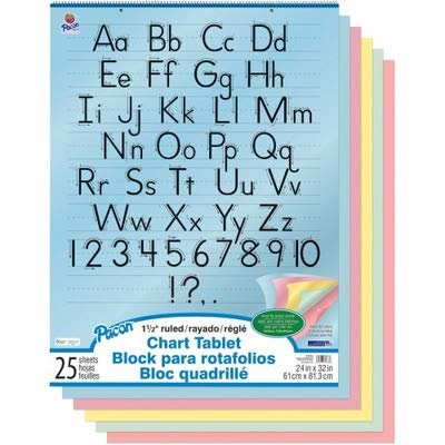 Pacon Colored Paper Chart Tablet - 24quot; x 32quot; - Yellow, Pink, Salmon, Blue, Green ()