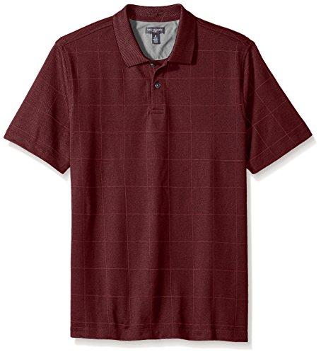 (Van Heusen Men's Flex Short Sleeve Stretch Windowpane Polo Shirt, Deep Burgundy Oxblood, Small)