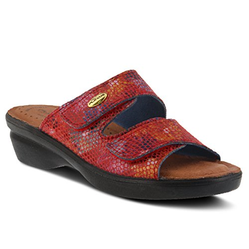 Flexus Womens Stil Kina Läder Slide Sandal Röd Multi