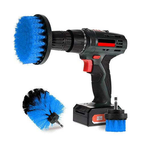 Scrub Brush Drill Attachment Kits, All Purpose Brush Heads for Cordless Corded Power Drills Impact Drivers, Shower Tile Bathroom Bathtub Sink Hardwater Stains Scum Grout Cleaning Set (Blue - Medium)