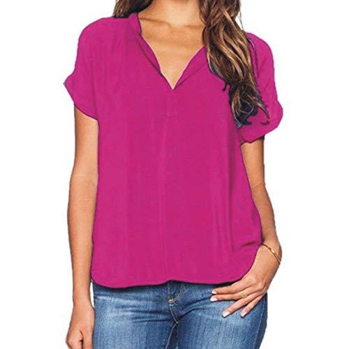 Battercake Bluse Elegante Moda Donna Shirt Estivi Chiffon Manica Corta Casuale Donne V-Neck Monocromo Irregular Traspirante Camicie Casual di Moda Top Rose