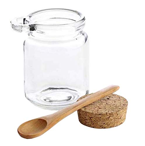 (1Pcs 250ml/8.3oz Empty Clear Glass Storage Container Bottle Jars With Cork Stopper and Wooden Spoon For Storing Food Bath Salt Seasoning Sauce Cosmetic Powder Honey Nuts and More)