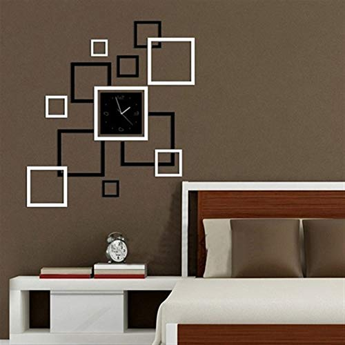 Wanrane Creative Square 3D Wall Clock,3D Acrylic Mirror Wall Sticker Quartz Clocks Square Watch Large Home Decor by Wanrane
