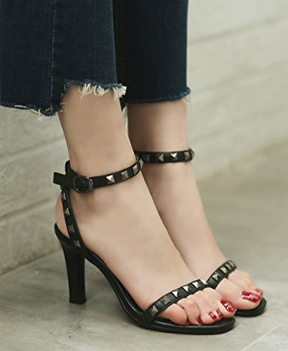 Calaier Women Salss Open-Toe 7CM Stiletto Buckle Sandals Shoes Black QAnlbwUN