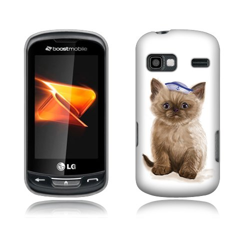 FINCIBO (TM) Protector Cover Case Snap On Hard Plastic Front And Back For LG Rumor Reflex LN272 Xpression C395 - Sailor Cat