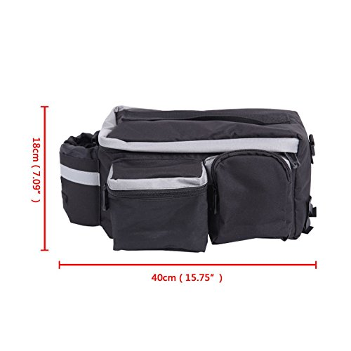 PanelTech Bicycle Cycling Sport Rear Rack Seat Trunk Bag Bike Mountain Handbag Storage Expanding Carry Strap Portable Shoulder Saddle Bag with Water Holder by PanelTech (Image #8)