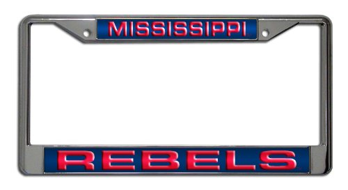 College Basketball Rebels (Rico Industries NCAA Mississippi Ole Miss Rebels Laser Cut Inlaid Standard Chrome License Plate Frame)
