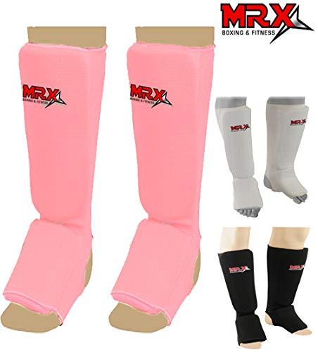 Cowhide Uniform - MRX Muay Thai Shin Guard Kick Boxing Leg & Foot Protector Pad MMA (Pink, Small)