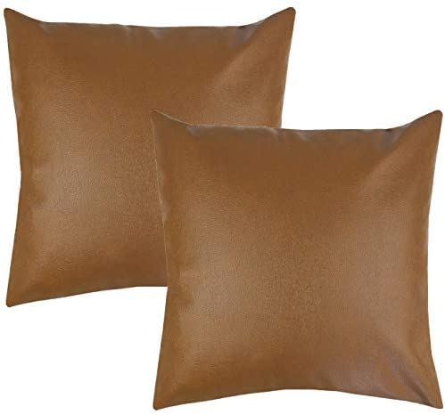 Shop Woven Nook Decorative Throw Pillow Covers, 100% Polyester Faux Leather from Amazon on Openhaus