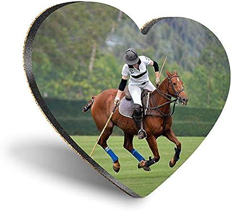 Posavasos con forma de corazón de MDF, para jugar a polo y deportes de caballo, brillante calidad de posavasos | Protección de mesa para cualquier tipo de mesa #45012