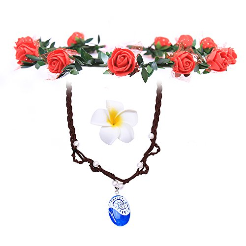 LEECCO Girl Pendant Necklace Princess Moana Cosplay Floral Wreath Headband & Flower Hair Clip,Moana Movie Costume Accessories,Necklace Girl Children Birthday Party Dress up from LEECCO
