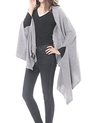 Bruceriver Women's Wool Blended Versatile Multi Style Long Knit Scarf (Light Gray-XS/S)