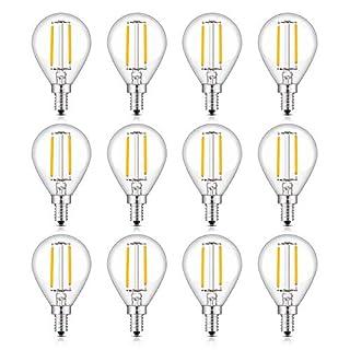 CRLight LED Candelabra Bulb 25W Equivalent 250 Lumens, 3000K Soft White 2W Filament LED Light Bulbs, E12 Base Vintage Edison G14 Clear Glass Globe Bulbs, Non-dimmable Version, 12 Pack
