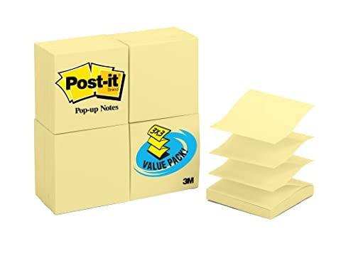 3M Post-it 3 x 3 inch Pop-up Note Refills, Canary Yellow, 100 Sheets, 24 Pack (330-Y24VAD) - Note Dispenser Value Pack
