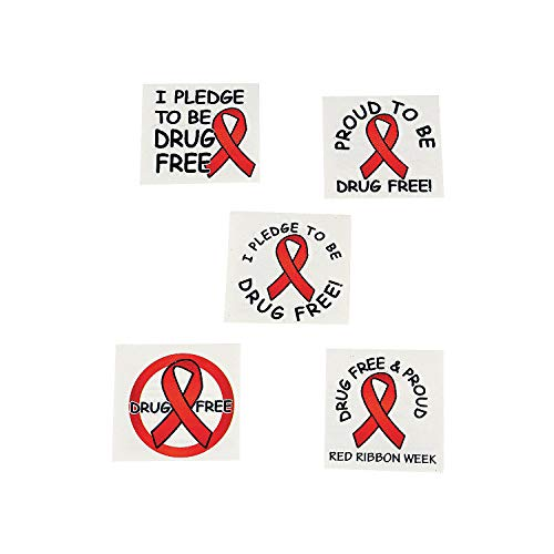 Fun Express - Red Ribbon Week Tattoos - Apparel Accessories - Temporary Tattoos - Regular Tattoos - 72 Pieces for $<!--$7.19-->