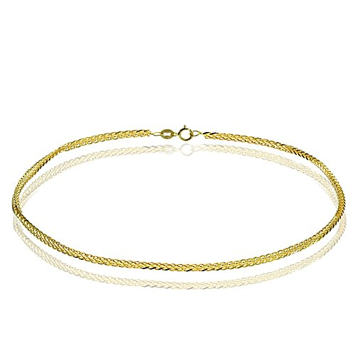 Bria Lou 14k Yellow Gold .8mm Italian Spiga Wheat Chain Anklet, 9 Inches by Bria Lou