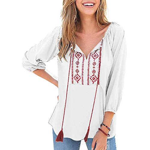 Aniywn Women's Casual Loose Tops, Long Sleeve V-Neck Strappy Printed Vintage Tunic Tee Shirts Blouse White ()