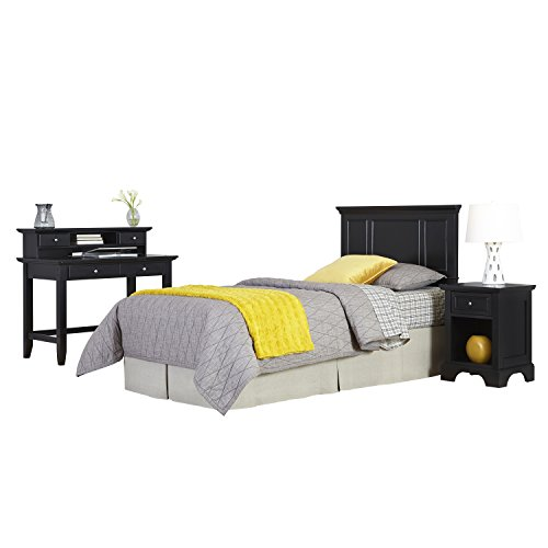 Bedford Black Twin Headboard, Night Stand and Student Desk with Hutch by Home Styles
