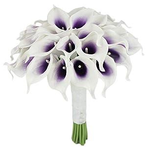 Lily Garden Luxury Calla Lily Bridal Wedding Bouquet 3 Dozen with Groom Boutonniere (Purple Center) 51