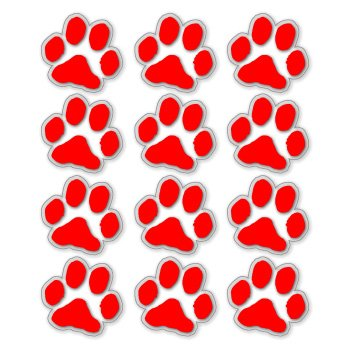 Red paw prints clear vinyl stickers sheet of 12 sticker decal