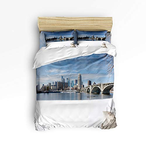 Queen Size Duvet Cover Set Bedding Sets for Kids Bedroom,The Snow Scenery of The Minneapolis Adult Bed Sets,4 Piece Include 1 Flat Sheet 1 Duvet Cover and 2 Pillow Cases ()