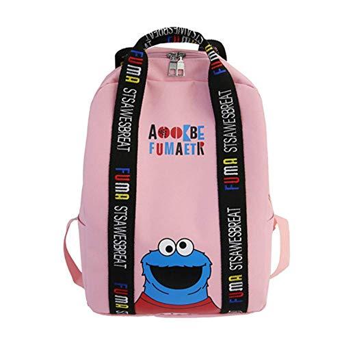 YOURNELO Unisex Cartoon ELMO Cookie Monster Printing Backpack Schoolbag Handbag (Pink)