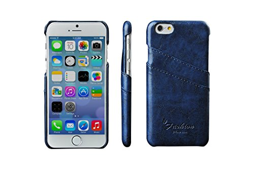 Iphone 6 Plus / 6s Plus Case 5.5'', Meticl Genuine Leather Case [3 Card Slots][ultra Slim] Leather Case Back Cover for Iphone 6 Plus / Iphone 6s Plus 5.5 Inch (5.5'' Navy Blue)