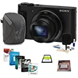 Sony DSC-HX90V Digital Camera, 18.2MP, Black - Bundle 16GB Class 10 SDHC Card, Camera Case, Cleaning Kit, Screen Protector, Professional Software Package