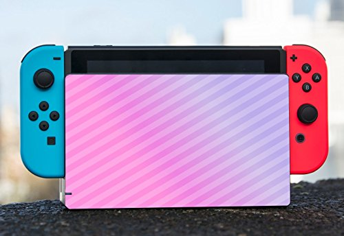 Pink Diagonal Lines Gradient Nintendo Switch Dock Vinyl Decal Sticker Skin by Moonlight Printing