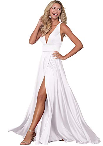 Women's V Neck Beach Wedding Dresses for Bride Sexy Bridal Gown 2019 Long Z22 (12,White)