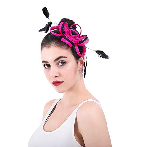 TangFeii-accessories Flower Cocktail Tea Party Headwear Women's Vintage Derby Fascinator Hat Headband Feather Cocktail Tea ()