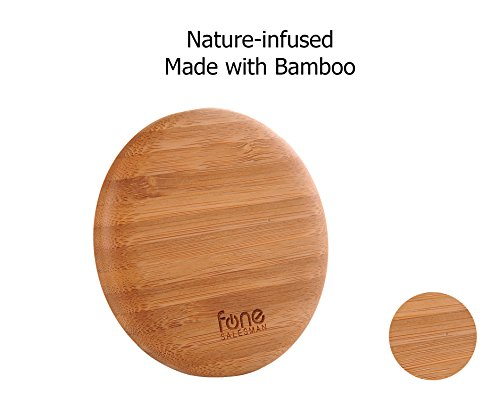 WoodPuck: Bamboo Edition Qi Wireless Charging Pad compatible with Samsung Galaxy S8,...